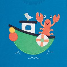 Buy Frugi Organic Baby Lobster Boat T-Shirt, Blue, 0-3 months Online at…