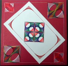 Geometric string art done card is mounted on another card with string art.