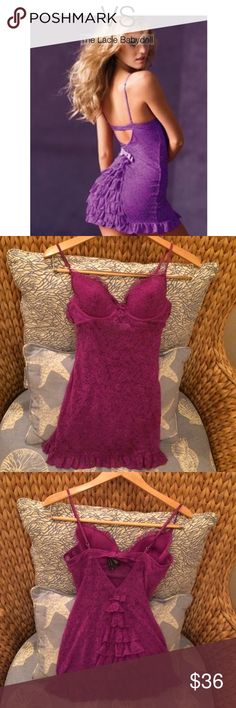 NWOT VS The Lacie Bustle Back Slip - Purple - Med Colorful, sheerly feminine lingerie. Supersoft, with a luxurious hint of stretch. Underwire cups. Adjustable straps. Lightly lined cups with removable pads. Back closure. Imported nylon/spandex. Never worn, has just sat in my drawer. **Color of item matches model photo** Victoria's Secret Intimates & Sleepwear Chemises & Slips