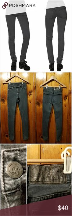 """Cheap Monday Midrise Tight OD Jeans EUC! NO HOLES OR STAINS - Size 24 - medium waist, slim fit -grey color, mid weight very stretchy denim  Five pocket jean withwaist button and zipped front closure. Antique silver finish on rivets and button. Matching thread color. 30"""" inseam  PRICE IS FIRM Cheap Monday Jeans Skinny"""