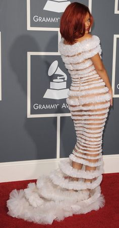 Rihanna in Jean Paul Gaultier. http://track.markethealth.com/SHAKL Love it or hate it? Not for me...doesn't leave to much to the imagination.