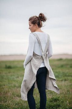Pinafore cross back Pure european Linen apron stonewashed from we are caribou on Etsy Pinafore Apron, Linen Apron, Apron Dress, Different Styles, Bell Sleeve Top, Pure Products, How To Wear, Tops, Women