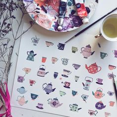 Sipping my second cup of tea ☕️ today! This one is chamomile. People who are tea drinkers and paint: Do you also put your brushes into tea instead of water to clean them by mistake? Or does it just happen to me, haha? #teatime #tea #mats #pots #collection #wip #gouache #illustration #pattern #paint #flowers #kettle #painting #doodle #watercolor #cute #matsa #instaart #art #chamomile #love #purple #colour