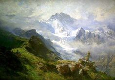 The Jungfrau của Edward Theodore Compton, Watercolor Landscape, Landscape Art, Landscape Paintings, Landscape Design, Mountain Art, Mountain Landscape, Munier, Seascape Paintings, Portrait Paintings