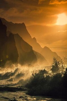 Hawaii, Kauai, Na Pali Coast, Sunset Along Ocean and Cliffs by Michael Libis