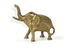 Vintage Brass Elephant Lucky with Raised Trunk by ChromaticWit