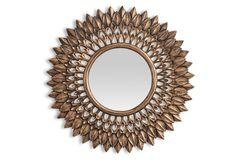 Laurel Sunburst Wall Mirror, Gold