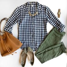 Pin by R Fast on Outfits in 2020 Gingham Shirt Outfit, Green Shirt Outfits, Olive Pants Outfit, Stylish Work Outfits, Cute Casual Outfits, Fashion Models, Fashion Outfits, Modest Fashion, Fashion Clothes