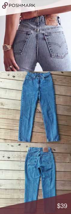 """⚡️Vintage 90's 512 High Waisted Jeans⚡️ The best fitting Levi's around. These are in perfect condition! Naturally distressed. Would be perfect to wear as is or frayed at the hem. Or cut into shorts! 100% cotton. Waist is 14"""" in the front. Inseam is 28"""". Levi's Jeans Straight Leg"""