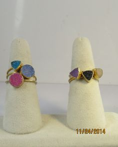 Druzy and gold-filled stacking rings by ArtisticJewelrybyPLT on Etsy