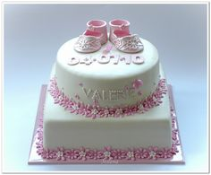 A Christening cake for the daughter of friends of ours. It's not my best work, it was rather a nightmare to decorate this cake. I was so relief once the cake was done :-) Just Cakes, Cakes And More, Debbie Brown, Fondant, Ice Cake, Celebration Cakes, Baby Shower Cakes, Cake Art, Party Cakes