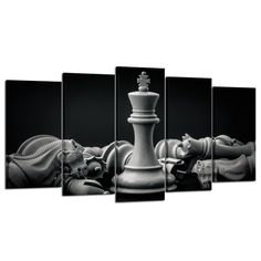 Kreative Arts - Black and White King and Knight of Chess Setup on Canvas Wall Art Paintings 5 Pieces Pictures Prints Poster Art Artworks for for Living Room Wall Decor (Large Size *** Check out the image by visiting the link. (This is an affiliate link) Skull Wall Art, Wood Wall Art, Canvas Wall Art, Wall Art Prints, Poster Prints, Wall Art Pictures, Print Pictures, Easy Landscape Paintings, Art