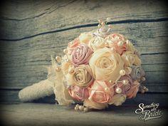 Custom made Vintage Silk Roses Bridal Bouquet www.somethingoldbride.com Facebook/Something Old Bride