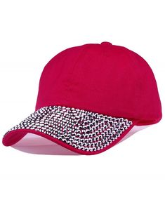 bda25279e19a0 Lady Studded Rhinestone Crystals Adjustable Baseball Cap - g-pink -  CF11RR34EC5