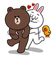 Brown & Cony's Lovey Dovey Date sticker Cony Brown, Brown Bear, Cute Love Gif, Line Friends, Line Store, Line Sticker, Lovey Dovey, Love You More Than, Emoticon