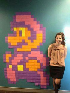 Mario post its Arte Post It, Post It Art, Post Its, Mario Bros., Geek Crafts, Library Programs, Community Art, Pixel Art, Painting Prints