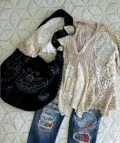 Vintage crochet doily shirt and boro embroidery patched jeans  littleprairiesparrow.com