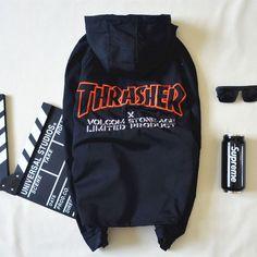 Thrasher x Volcom Stone Age Limited Product Black Windbreaker Jacket