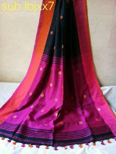 Exclusive Pure Linen by Linen(100 count) Jamdani Saree with blouse Order what's app 7995736811