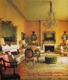 John Fowler and Nancy Lancaster - Drawing Room Hambledon Manor 1955
