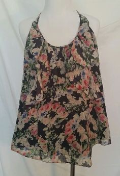 Rebecca taylor top size 10 racerback floral lined in Clothing, Shoes & Accessories | eBay