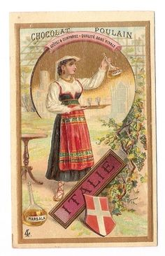 Italie - Jeune femme Marsala  alcool  -  - Chromo Chocolat Poulain - Trade Card