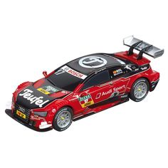 Met deze snelle Carrera Teufel Audi RS 5 DTM race je supersnel over de racebaan! Trek alle aandacht met deze rode Audi met M. Molina achter het stuur! De auto is gemaakt van kunststof en heeft een lengte van 11 cm. Afmeting: lengte 11 cm - Carrera GO!!! Raceauto - Teufel Audi RS 5 DTM 'Molina'