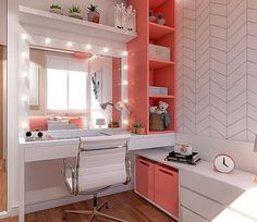 19 makeup room ideas to brighten your morning routine 00004 Cool Teen Bedrooms, Bedroom Decor For Teen Girls, Girl Bedroom Designs, Room Ideas Bedroom, Small Room Bedroom, Home Decor Bedroom, Home Room Design, Interior Design Living Room, Room Interior