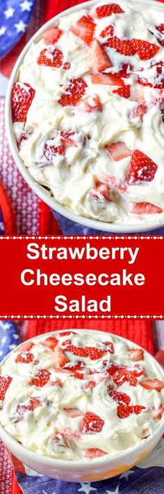 This Strawberry Cheesecake Salad is a sweet and creamy no bake dessert that tastes like a strawberry cheesecake in a bowl It is perfect for a summer party! strawberrycheesecake strawberrydessert c is part of Strawberry cheesecake salad - Dessert Aux Fruits, Dessert Salads, Fruit Salad Recipes, Strawberry Recipes, Fruit Salads, Dessert Shots, Strawberry Salads, Jello Salads, Köstliche Desserts