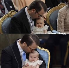 Top: Prince Daniel with his daughter, Princess Estelle Bottom: Prince Daniel with his son, Prince Oscar Notice that his two children look so much alike at their same age!!