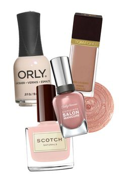 ORLY Nail Lacquer im Naked Canvas, $8.50; orlybeauty.com Tom Ford Beauty Nail Lacquer in Mink Brule, $32; saksfifthavenue.com Scotch Naturals Premium Nail Lacquer in Neat, $15; scotchnaturals.com Sally Hansen Complete Salon Manicure in Pink Pong, $7; drugstore.com   - ELLE.com
