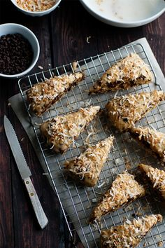 Chocolate Coconut Scones | My Baking Addiction | Make it #vegan by using egg replacer and #EarthBalance buttery spread; may be possible to make GF by using a GF flour mixture like Pamela's Artisan Baking Mix.