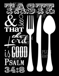 Kitchen Scripture Art Printable. Taste and See. by APlumHoot, $5.00