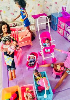 """Another day at """"Teeny Babysitting Service. Barbie Bebe, Barbie Kids, Baby Barbie, Barbie And Ken, Reborn Toddler Dolls, Baby Dolls, Doc Mcstuffins Toys, Barbie Happy Family, Accessoires Barbie"""