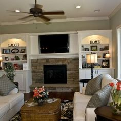 family room fireplace tv built in shelving palladian blue living rooms and room