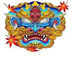 Samurai Mask Tattoo, Hannya Mask Tattoo, Demon Tattoo, Dark Tattoo, Mini Tattoos, Body Art Tattoos, Sleeve Tattoos, Vintage Mermaid, Mermaid Art