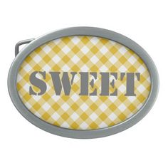 Yellow Gingham Gift Oval Belt Buckle
