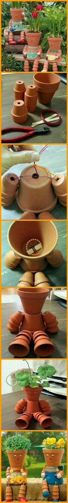 Get the kids interested in gardening by making this DIY clay pot flower people! Flower Pot Art, Clay Flower Pots, Flower Pot Crafts, Clay Pots, Clay Pot Projects, Clay Pot Crafts, Diy Clay, Flower Pot People, Clay Pot People
