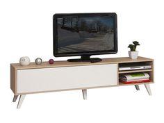 Meuble TV bas en bois avec 1 abattant et 2 niches PRISM