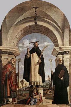 St Peter Martyr with St Nicholas of Bari, St Benedict and an Angel Musician Date: 1504 Pinacoteca di Brera, Milano