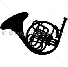 French horn silhouette clip art. Download free versions of the image in EPS, JPG, PDF, PNG, and SVG formats at http://silhouettegarden.com/download/french-horn-silhouette/