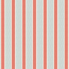 Coral pink and green dotted awning stripe that's classic yet modern, with a hint of preppy. This aqua & coral pink stripe fabric is available by the yard and on most Loom custom furnishings.