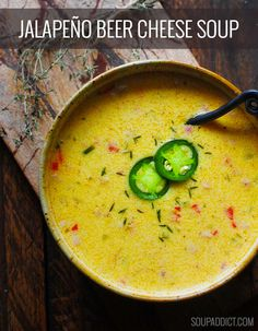 Jalapeno Beer Cheese Soup | SoupAddict.com. Rich and cheesy and slightly spicy, beer cheese soup is the perfect chilly weather meal.
