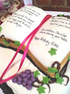 Another view of our Pastor's Birthday Cake - Blessed is the man - tuxedo and bible and entwining vine - men's Birthday Cake ideas