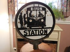 """""""Porcelain Bus Stop Sign 1940's by LadyNinaNana on Etsy"""" Maybe I could add an additional sign"""