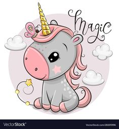 Vector illustration of a Cute Cartoon unicorn with gold horn and clouds Unicorn Outline, Unicorn Art, Cute Rainbow Unicorn, Cute Unicorn, Unicornios Wallpaper, Kids Cartoon Characters, Unicorn Pictures, Cartoon Unicorn, Cloud Vector
