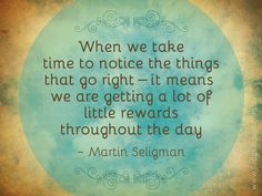 """""""When we take time to notice the things that go right - it means we are getting a lot of little rewards throughout the day"""" - Martin Seligman"""