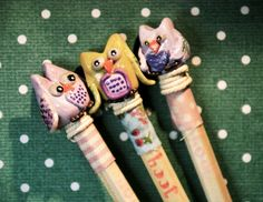Owl Pencils - avliable at my Etsy Shop lillywitch hollow