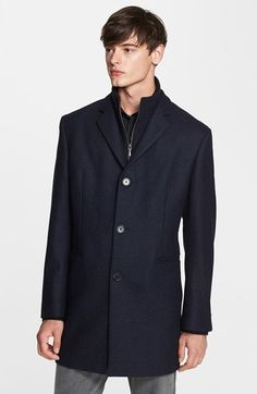 $795, Navy Overcoat: John Varvatos Star Usa Wool Cashmere Overcoat. Sold by Nordstrom. Click for more info: https://lookastic.com/men/shop_items/135511/redirect