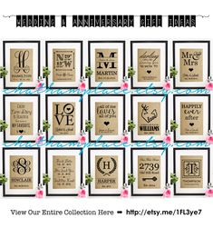 Personalized Burlap Monogram Custom Burlap Print by chathamplace